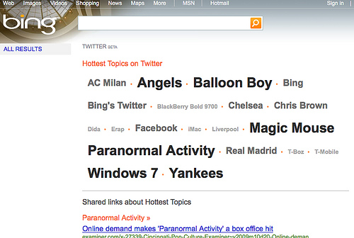 Bing-Twitter Search Rendering